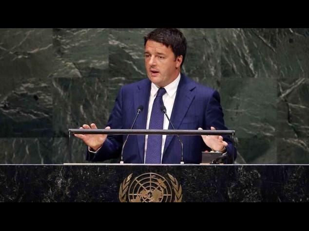 """Renzi a Onu, """"uniti contro minacce per cambiare destino mondo"""""""