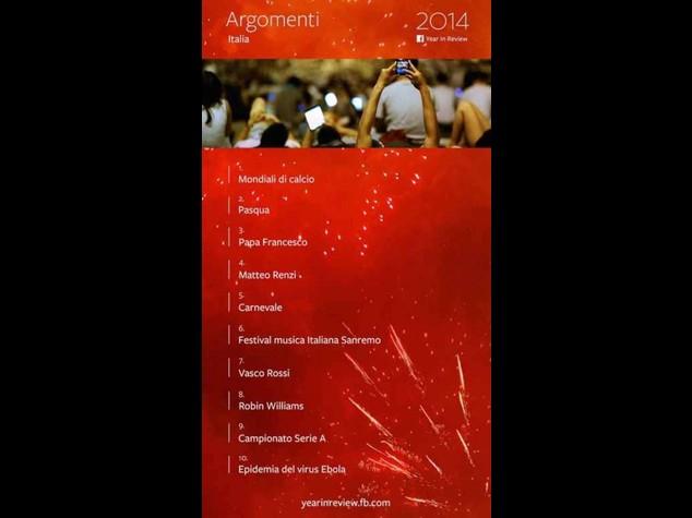 Dai Mondiali a Renzi, i temi 'caldi' del 2014 su Fb