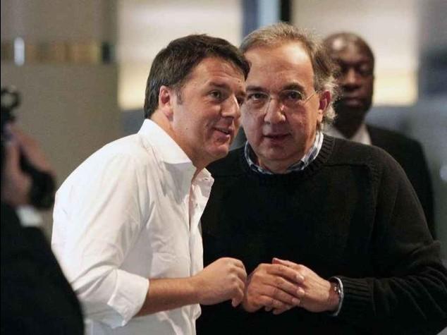"""Renzi,""""Tutto per creare lavoro"""" Marchionne,""""appoggio le riforme"""""""