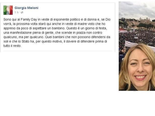 Giorgia Meloni incinta. Con annuncio al Family Day 2016 matrimonio in vista?