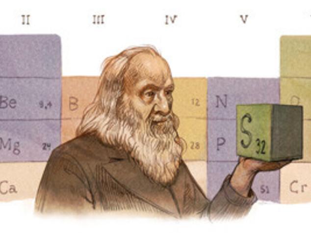 Doodle per Mendeleev, inventò la tavola periodica