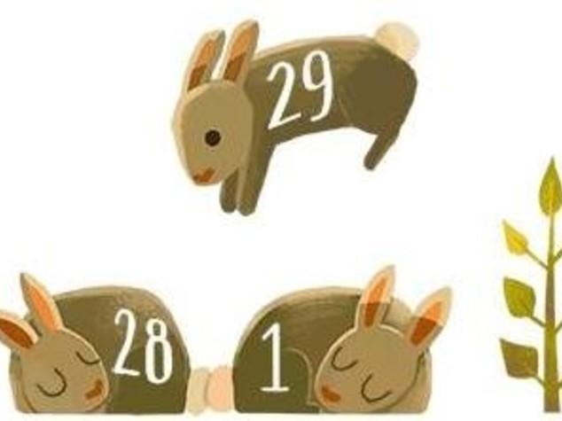 Doodle bisestile con tre coniglietti per il 29 febbraio -  Guarda