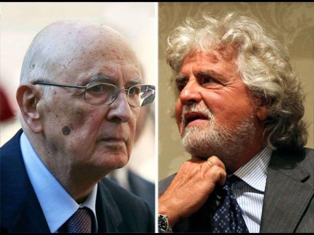 """Grillo sfida Napolitano, """"non sono io l'eversore"""""""