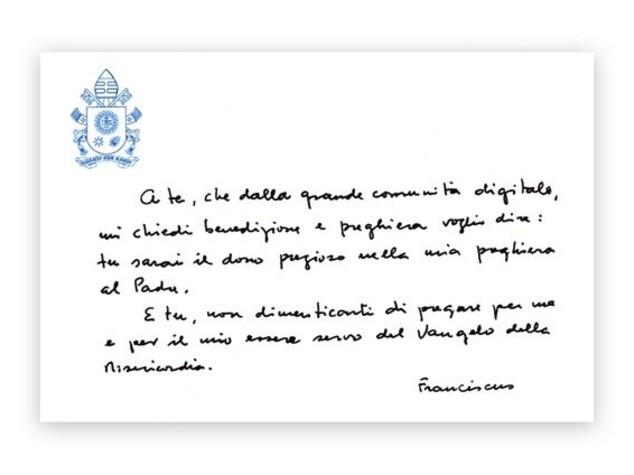 La benedizione di Francesco alla comunità digitale