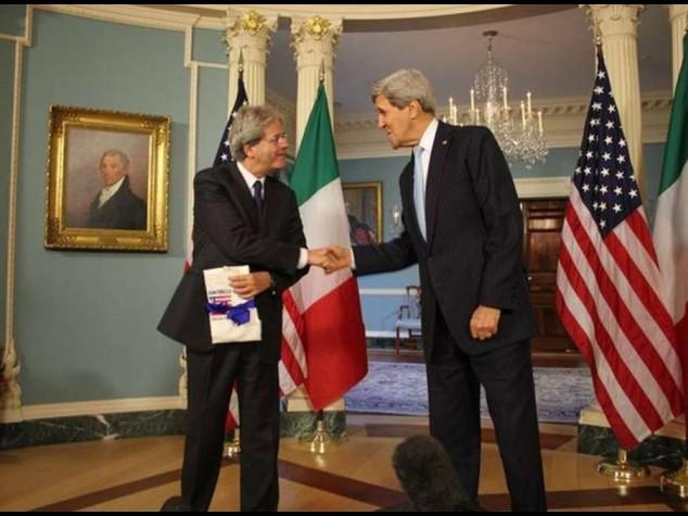 """Gentiloni da Kerry, """"rapporti eccellenti, li rafforzeremo"""""""
