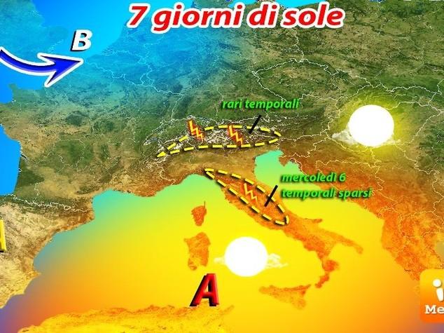 Meteo: l'estate prende il largo, 7 giorni di sole e caldo