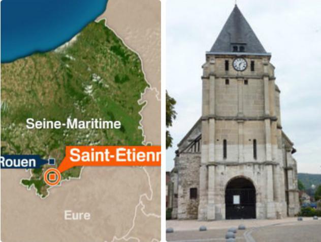 Ostaggi in chiesa a Rouen, prete sgozzato. Uccisi aggressori