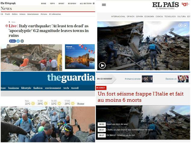 Terremoto, l'eco sui media internazionali