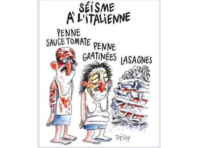 Beffa Charlie Hebdo a terremotati