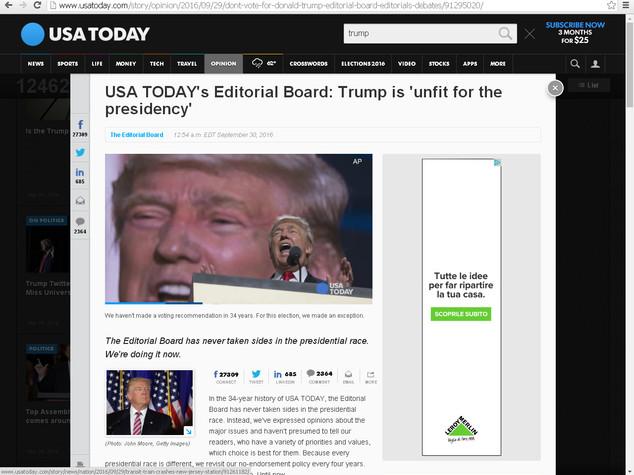 """Usa Today si schiera dopo 34 anni """"non votate Trump"""""""