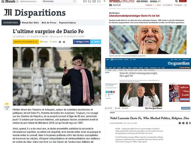 L'addio a Fo sui giornali di tutto il mondo