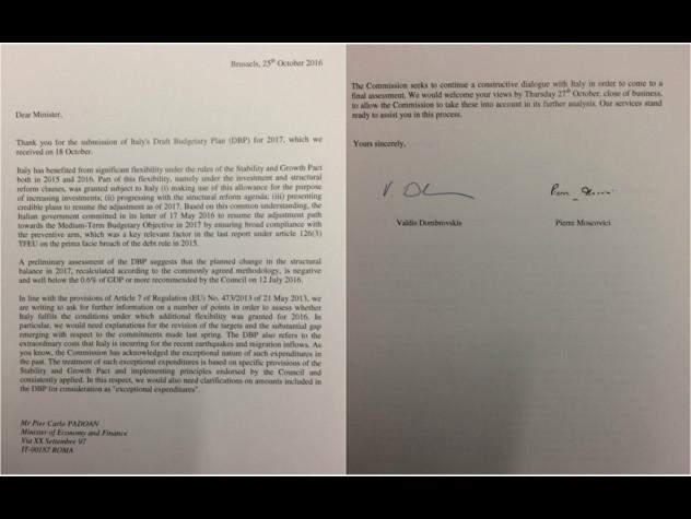 Lettera di richiamo da Bruxelles per i conti dell'Italia