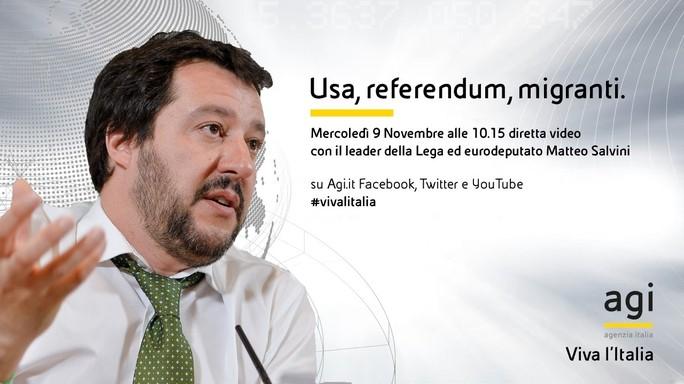 Matteo Salvini commenta Trump in diretta web su Agi.it