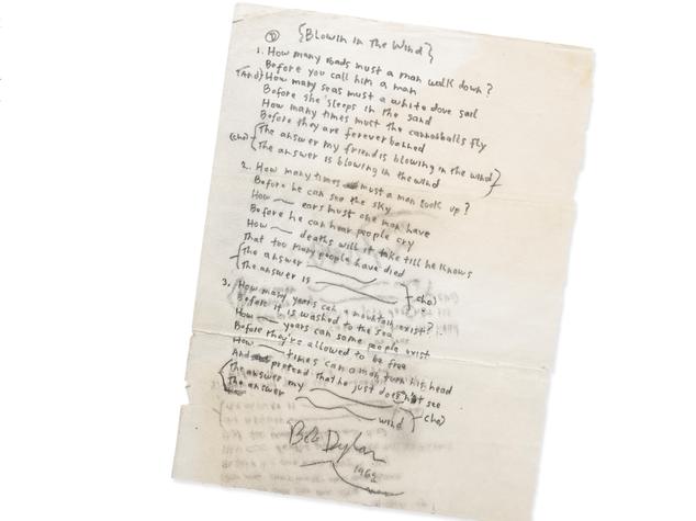 """All'asta il manoscritto """"Blowin'in the Wind"""" di Dylan"""