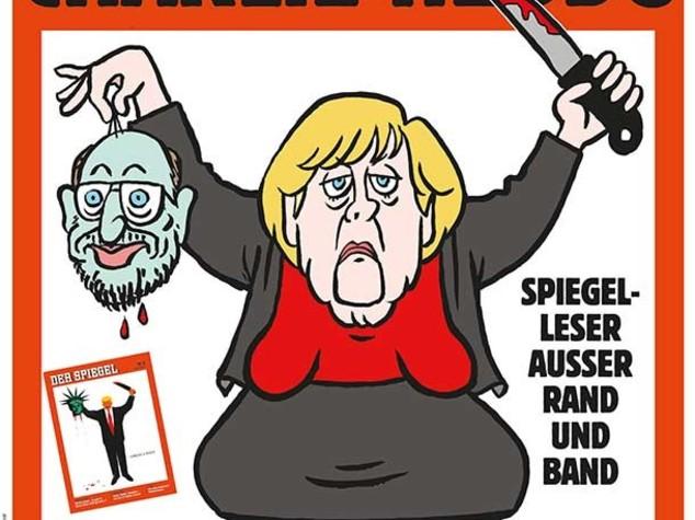 Merkel brandisce la testa di Schulz, Charlie Hebdo solidale con Der Spiegel