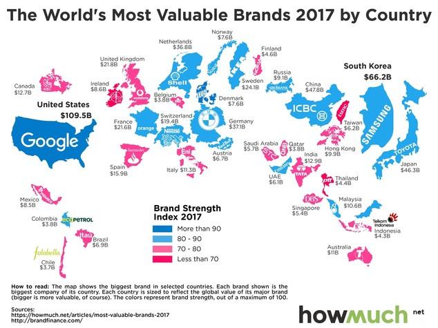 La mappa delle 500 aziende più influenti al mondo
