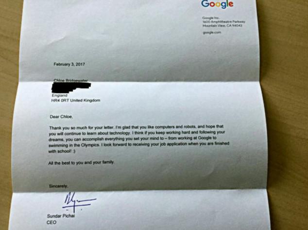 A 7 anni chiede di lavorare per Google: il CEO le risponde