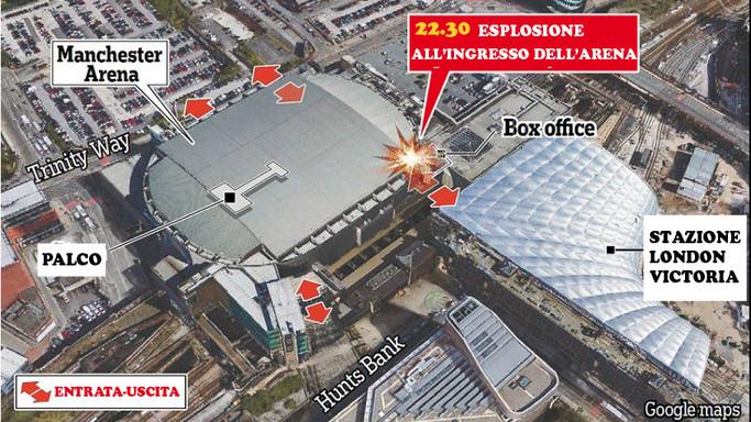 La mappa dell'attentato. Ecco il luogo dell'esplosione fuori dall'arena