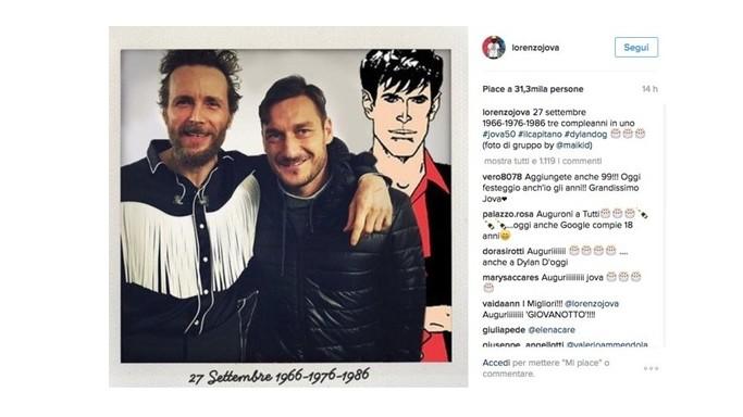 """Lettera di Jovanotti a Totti: """"Francesco è un moltiplicatore di gioia"""""""