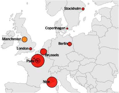 Manchester Cartina.Da Charlie A Manchester La Mappa Degli Attacchi