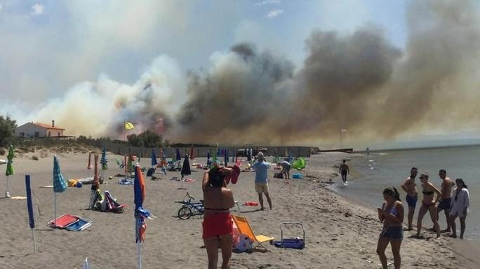 "Vasto incendio vicino Capalbio, evacuata ""L'ultima spiaggia"""