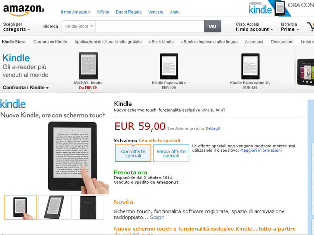 Amazon: svelati i nuovi Kindle, stessi prezzi, piu' performance
