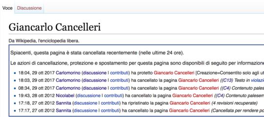 Perché la pagina Wikipedia di Giancarlo Cancelleri è stata eliminata