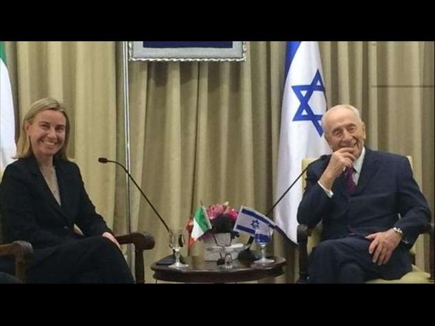 "M. O.: Mogherini incontra Peres e Netanyahu, ""cessate-il-fuoco"""