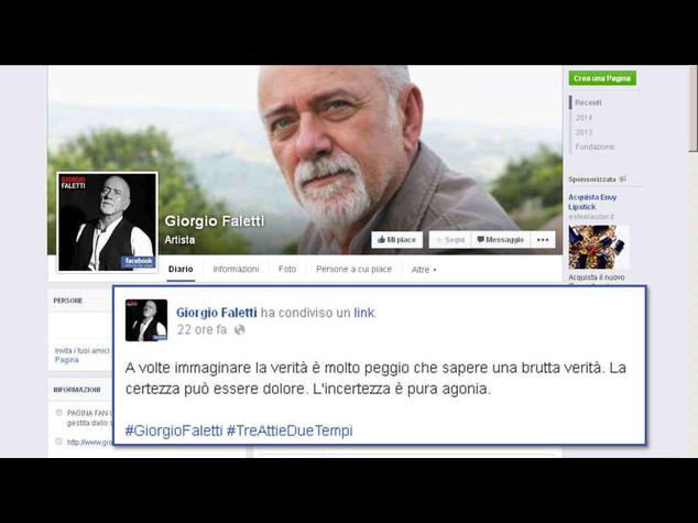 """Faletti: l'ultimo post su Facebook, """"meglio una butta verita' che l'incertezza"""""""