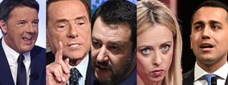 Renzi, Berlusconi, Salvini, Meloni, Di Maio