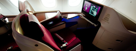 Posto in business class in un aereo Qatar