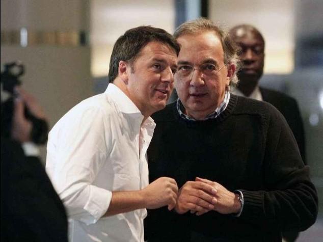 """Renzi,""""Di tutto per creare lavoro"""". Marchionne """"Appoggio il premier"""""""