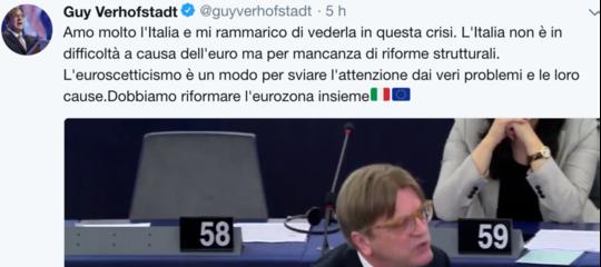 "Il tweet in italiano dell'eurodeputato belgaVerhofstadt: ""Amo l'Italia, riformiamol'eurozona"""