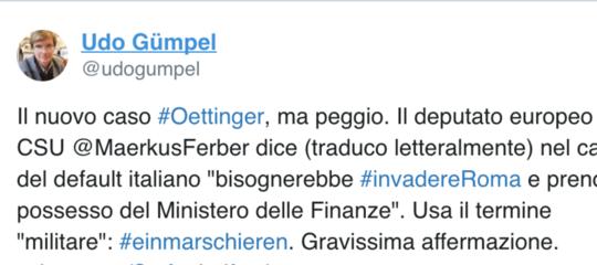 """Un deputato tedesco ha detto che in caso di default bisognerebbe """"invadere Roma"""""""