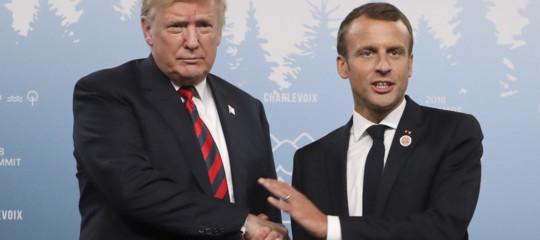 G7 stretta di mano macron trump