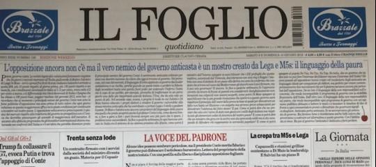L'editore del Foglio contesta in prima pagina la linea del giornale sul governo