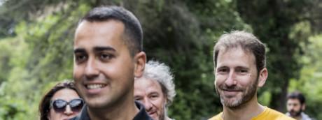 Luigi Di Maio e Davide Casaleggio ad Assisi per la marcia per il reddito di cittadinanza nel maggio del 2017