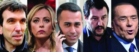 Martina, Meloni, Di Maio, Salvini, Berlusconi (AGF_AFP)
