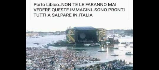 La bufala dei migranti pronti a salpare per l'Italia con la foto del concerto deiPinkFloyd