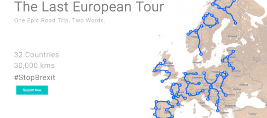"""Storia diAndy, che gira l'Europa scrivendo """"StopBrexit"""" con unGpsper penna"""