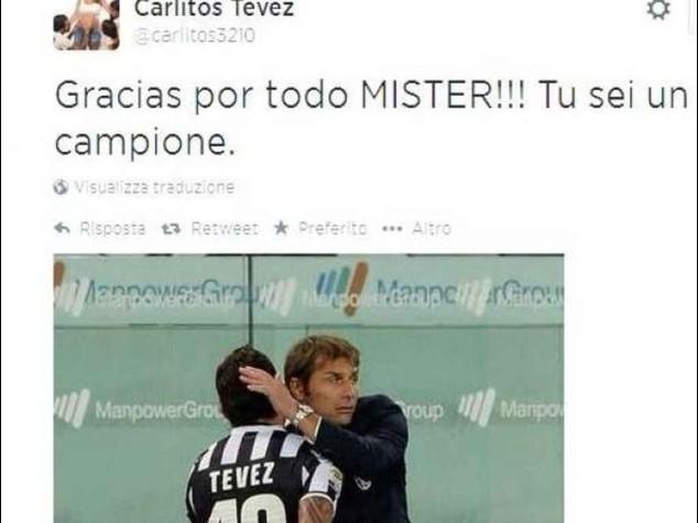 """Juve: Tevez saluta Conte """"Grazie di tutto, sei un campione"""""""