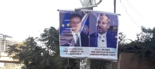 Africa:AddisAbeba tappezzata di manifesti di Giuseppe Conte
