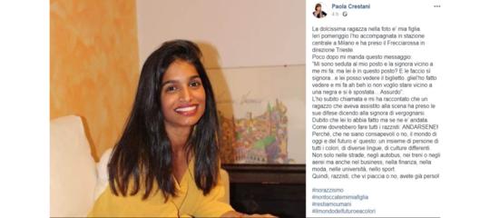 """Una donna su un treno per Trieste non si è voluta sedere vicino questa ragazza perché """"negra"""""""