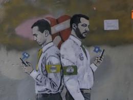 Di Maio e Salvini nella 'Guerra dei Socials', il nuovo murale di TvBoy