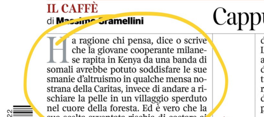 Modi diversi di leggere le parole diGramellinisul rapimento di Silvia Romano