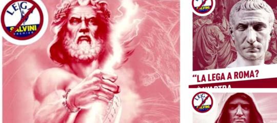 I cartelli dei simboli di Roma contro la manifestazione della Lega