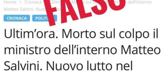 Salvini pubblica un falso articolo che annuncia la sua morte