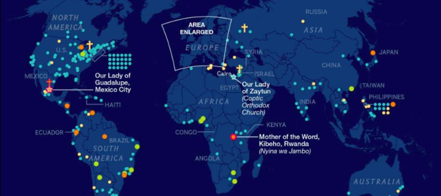 Cartina Mondiale Stati.La Mappa Mondiale Delle Apparizioni Della Madonna