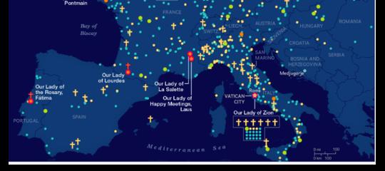 La mappa mondiale delle apparizioni della Madonna