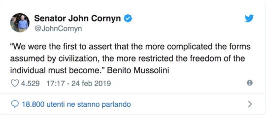 Il senatore americano che cita Mussolini per dare lezioni agli avversari